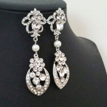 Chandelier Bridal Earrings, Art Deco Wedding Earrings, Vintage Style Bridal Jewelry, Statement Wedding Jewelry, Crystal Drop Long, Pearl