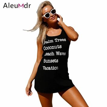Aleumdr Saida De Praia Feminino 2018 Swimwear Women Dress Black Graphic Tank Swim Cover Up Dress Tunic For Beach LC420025