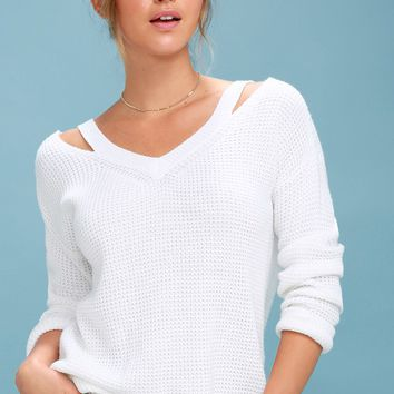 Little of Your Love White Cutout Knit Sweater