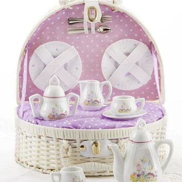Children's Porcelain Tea Set in Wicker Style Basket -Birdhouse - FREE TEA INCLUDED!