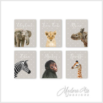 Zoo Animals CANVAS Nursery Decor Wall Art Safari Animals Decoration Baby Zebra Lion Rhino Duck Polar Bear Giraffe Set of 6 BA-002