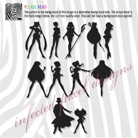 Sailor Moon Sailor Scouts Silhouette Decals - Your Choice of Color