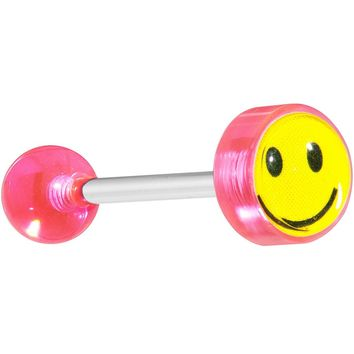 Pink SMILEY FACE Logo Barbell Tongue Ring