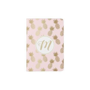 Gold Pineapple Pattern & Monogram Passport Holder