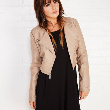 Quilted Faux Leather Moto Jacket With Smocked Hem | Wet Seal