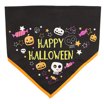 "Thrills & Chills™ ""Happy Halloween"" Glow-in-the-Dark Dog Bandana"