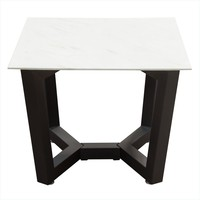 Caplan Square End Table with Ceramic Marble Glass Top and Black Powder Coat Base