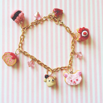 Miniature Sweet Food Charm Polymer Clay Charm Swarovski Crystals Pink Gold Plated Bracelet