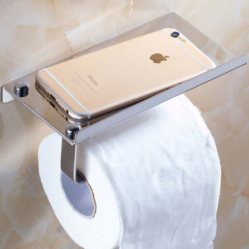 Free Shipping Chrome Bathroom Toilet Paper Holder Stainless Steel Tissue Bar Hanger mobile phone rack