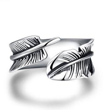 GOMAYA Men Vintage Rings Feather Leaf 316L Stainless Steel Retro Ring for Women Punk Street Ring Accessories Simple Design