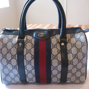 Authentic Vintage Gucci Speedy Doctor Boston Bag Purse -Navy Blue - Red Stripe