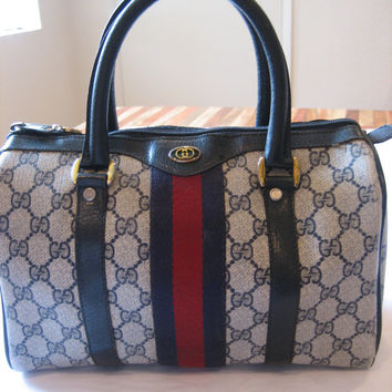 Authentic Vintage Gucci Sdy Doctor Boston Bag Purse Navy Blu