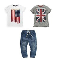 boys clothes set with flag baby clothes T-shirts + jeans kids clothes