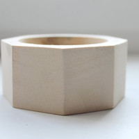 45 mm Wooden bracelet unfinished round octahedral - natural eco friendly OKT45