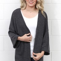Favorite Knit Kimono Cardigan {Charcoal} EXTENDED SIZES
