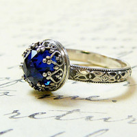 Beautiful Gothic Vintage Sterling Silver Floral Band Ring with Rose cut Blue Sapphire and Heart Bezel