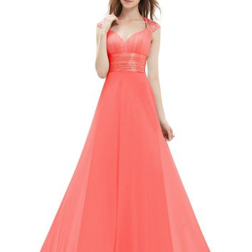 Ever Pretty Bridesmaid Dresses V Neck Pink Sequins Chiffon  Empire Line Long EP09672 Navy Blue Coral Colored Bridesmaid Dresses