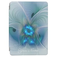 Standing Ovations, Blue Turquoise Fractal Art Name iPad Pro Cover