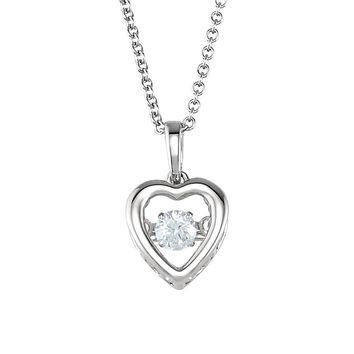 1/6 Carat Diamond Heart Necklace in 14k White Gold, 18 Inch