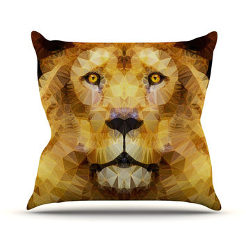 "Ancello ""Lion King"" Yellow Brown Throw Pillow"