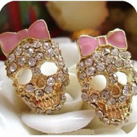 ** MAKE OFFER ** New Gold Skull Bow Stud Earrings Independent Designer one size by Alisha's Fashion
