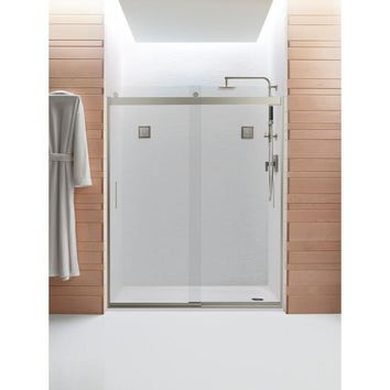 KOHLER Levity 59-5/8 in. x 74 in. Frameless Sliding Shower Door in Nickel with Handle-K-706009-L-MX - The Home Depot