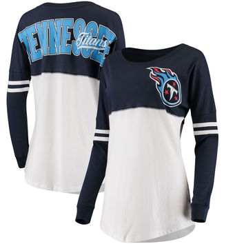 Women's 5th & Ocean by New Era Navy/White Tennessee Titans Team Logo Athletic Varsity Long Sleeve T-Shirt