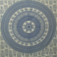 Decorative Blue Elephant Mandala Indian Hippie Tapestry Throw Wall Hanging Bed Cover Bohemian Tapestry