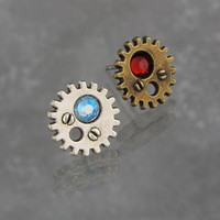 Gear Steampunk Stud Earrings with Swarovski Elements Birthstone, Silver or Bronze Tone