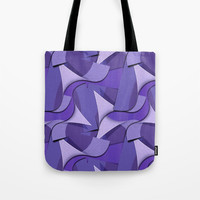Ultra Violet Abstract Waves Tote Bag by gx9designs