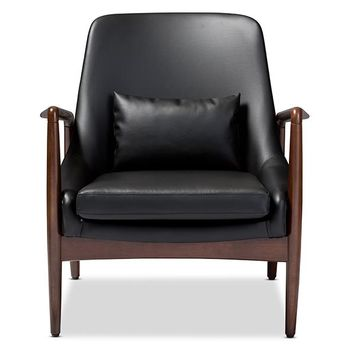 Baxton Studio Carter Mid-Century Modern Retro Black Faux Leather Upholstered Leisure Accent Chair in Walnut Wood Frame Set of 1