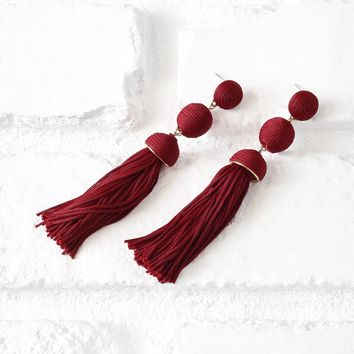 Red Bead and Tassel Drop Earrings | NRFB