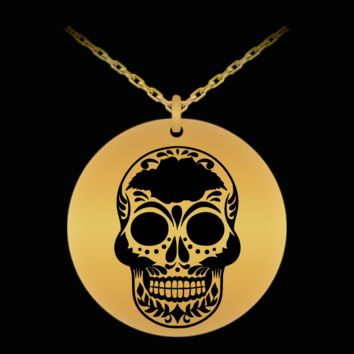 Sugar Skull Laser Engraved Pendant - Day of the Dead - Dia De Los Muertos