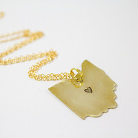 SALE: Gold Hand Stamped Ohio Necklace with Heart in City of Choice - 14K Gold - Columbus, Local, Jewelry