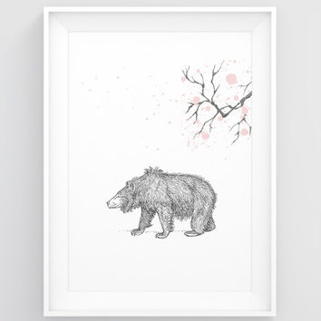 Bear art print, Bear print, Bear decor, Bear wall art, Woodland nursery print, Animal PRINTABLE art, Large artwork, Forest animal prints