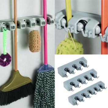 Popular Kitchen Wall Mounted Hanger Storage Rack 3-5 Position Kitchen Mop Brush Broom Organizer Holder Tool