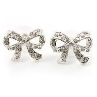 Small Diamante Bow Stud Earrings (Silver Tone)