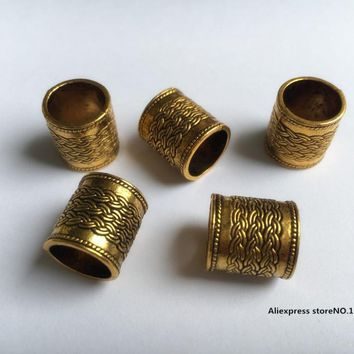 Free Shipping 10Pcs/Lot Antique golden hair dread dreadlock beads cuff clip approx 10mm hole