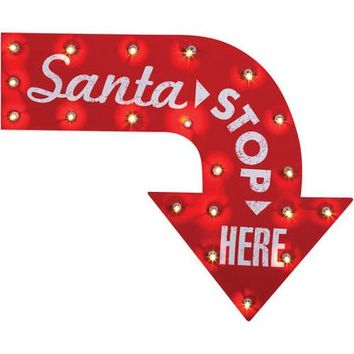 Santa Stop Here Vintage Sign Halloween Decoration - Walmart.com