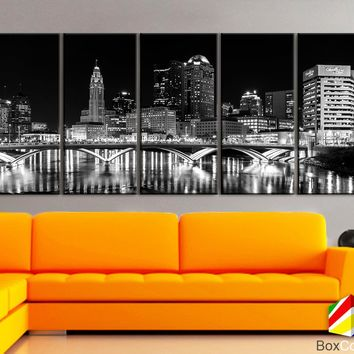 "XLARGE 30""x70"" 5 Panels Art Canvas Print Columbus Ohio Skyline bridge night Downtown Black White Wall Home decor interior (framed 1.5""depth)"