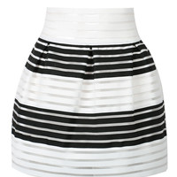 White Stripe Sheer High Waisted Skater Skirt