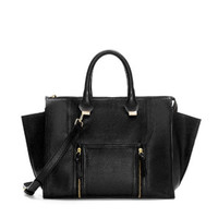 LEATHER CITY BAG WITH POCKET AND ZIPS