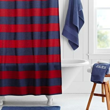 Rugby Stripe Shower Curtain, Navy/Red