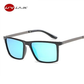 DCCKFS2 UVLAIK Polarized Sunglasses Men Vintage Square Sun glasses Male Driving Safety Protect Eyeglasses HD Goggles
