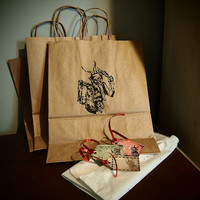 Krampus Gift Bag Set with Tags Tissue Ribbon. 3 Medium Kraft Brown Paper Reusable Medieval Gift Wrapping Grub vom krampus gothic holiday