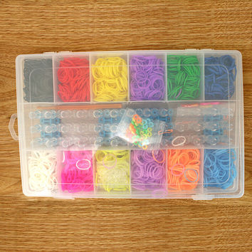 1 Box Normal color rubber band loom bands kits 2400 pcs  + 2bags S clip + 1 hook+1 Weaver For kids DIY Charm Bracelets