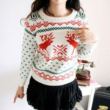Round-neck Pullover Winter Knit Tops Christmas Sweater [9255939271]