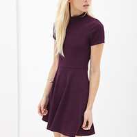 FOREVER 21 MatelassA(c) Skater Dress Plum