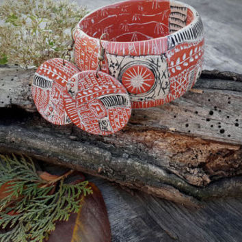 Polymer Clay Art Jewelry Bangle, Texture Bracelet, earring, rustic bangle,handcrafted jewelry,unuque jewelry,autumn
