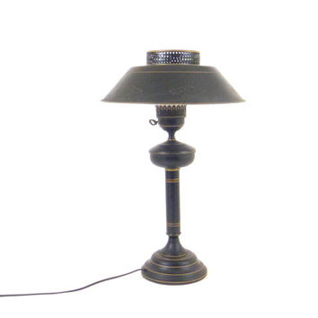 Table Lamp Tole Toleware Lamp Black Lamp Metal Lamp Mid Century Lamp